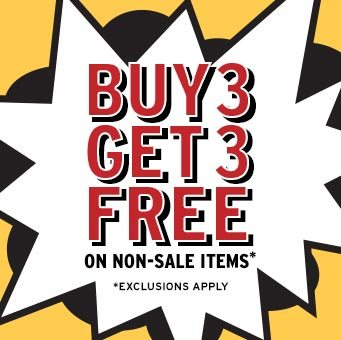 Receive your choice of 3-piece bonus gift with your Buy 3 (non sale items), Get 3 Free purchase